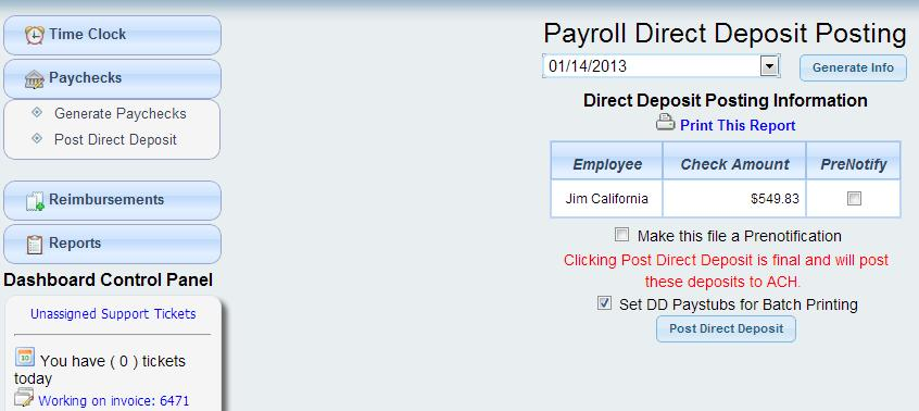 payroll - paychecks - post direct deposit