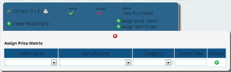 assigning price matrix to customer