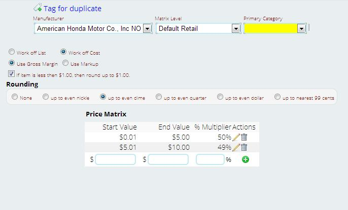 setting up price matrix